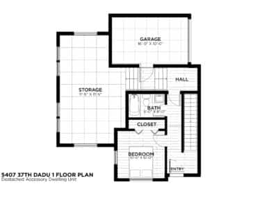 Seattle DADU First Level Floor Plan by New Image Construction Management