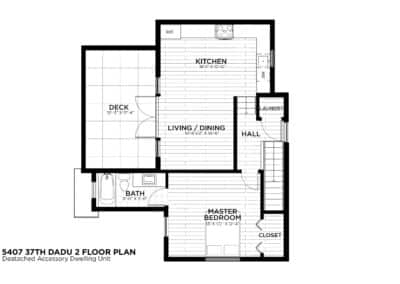 Seattle DADU Second Level Floor Plan by New Image Construction Management