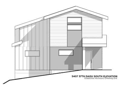 Seattle DADU South Elevation by New Image Construction Management