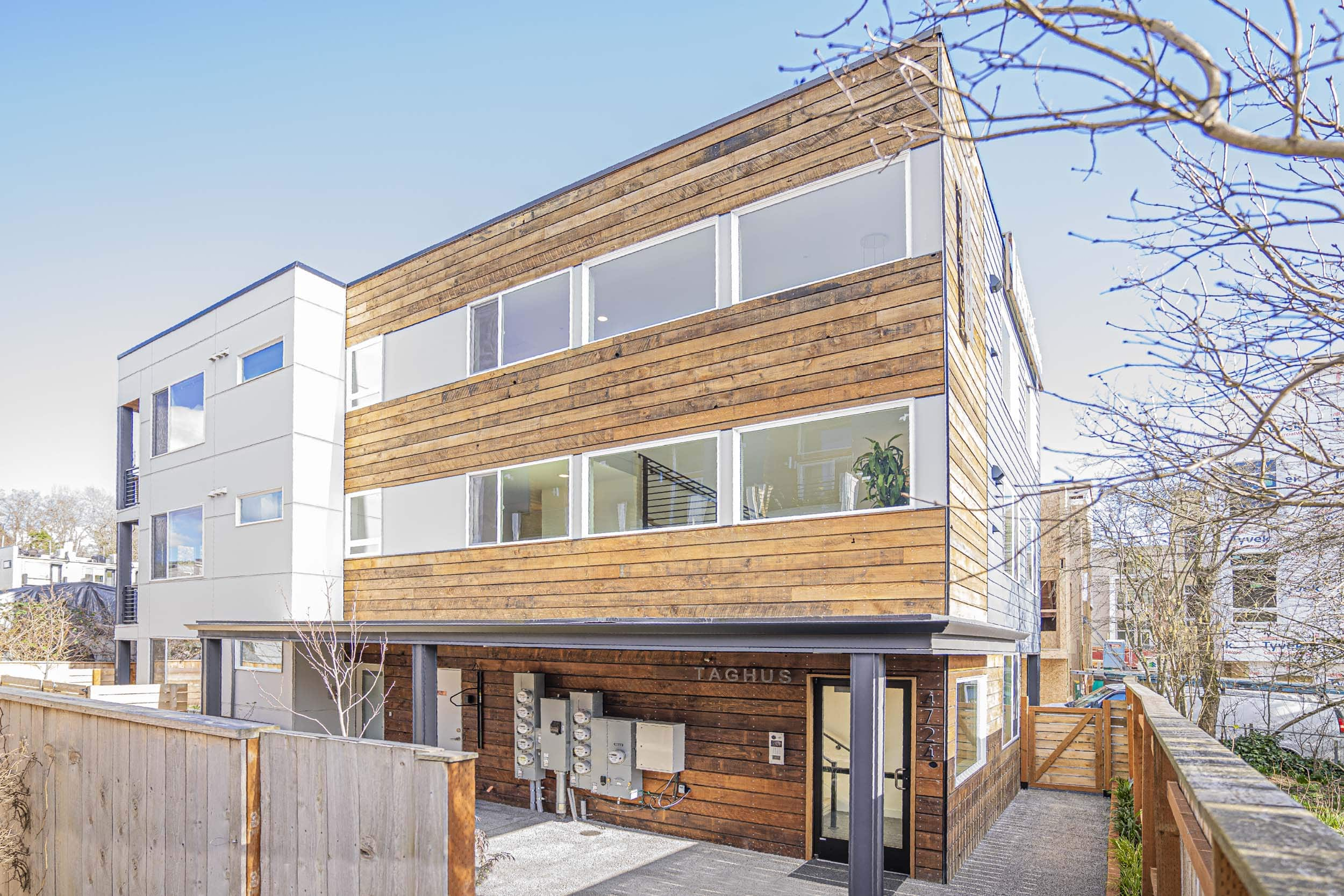 Custom design and construction of a nine unit apartment located at 4724 31st Ave S, Seattle, WA 98118