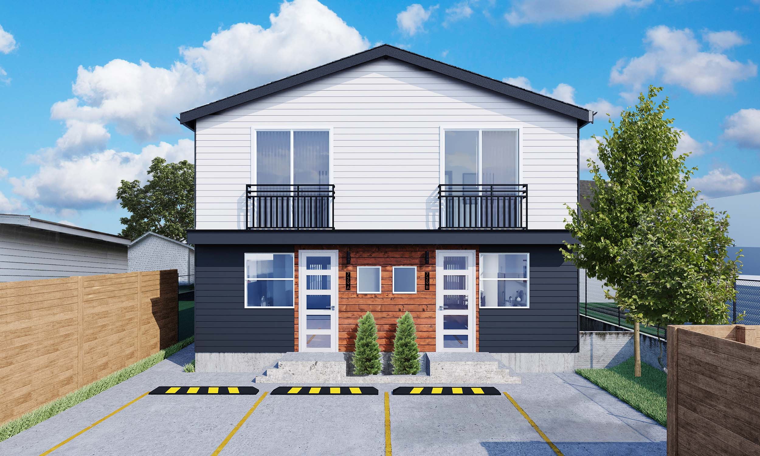 Custom design and construction of a single family residence (SFR) with an attached accessory dwelling unit (AADU).